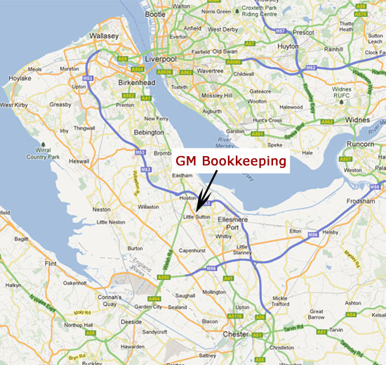 GM Bookkeeping location Ellesmere Port, Wirral, Chester